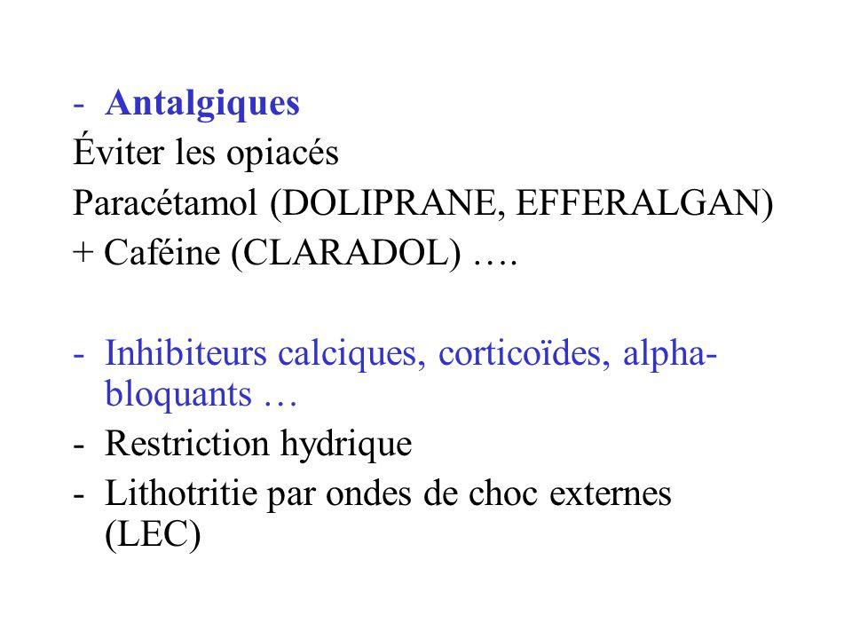 -Antalgiques Éviter les opiacés Paracétamol (DOLIPRANE, EFFERALGAN) + Caféine (CLARADOL) …. -Inhibiteurs calciques, corticoïdes, alpha- bloquants … -R