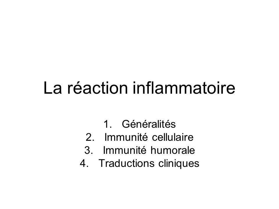 La réaction inflammatoire 1.Généralités 2.Immunité cellulaire 3.Immunité humorale 4.Traductions cliniques