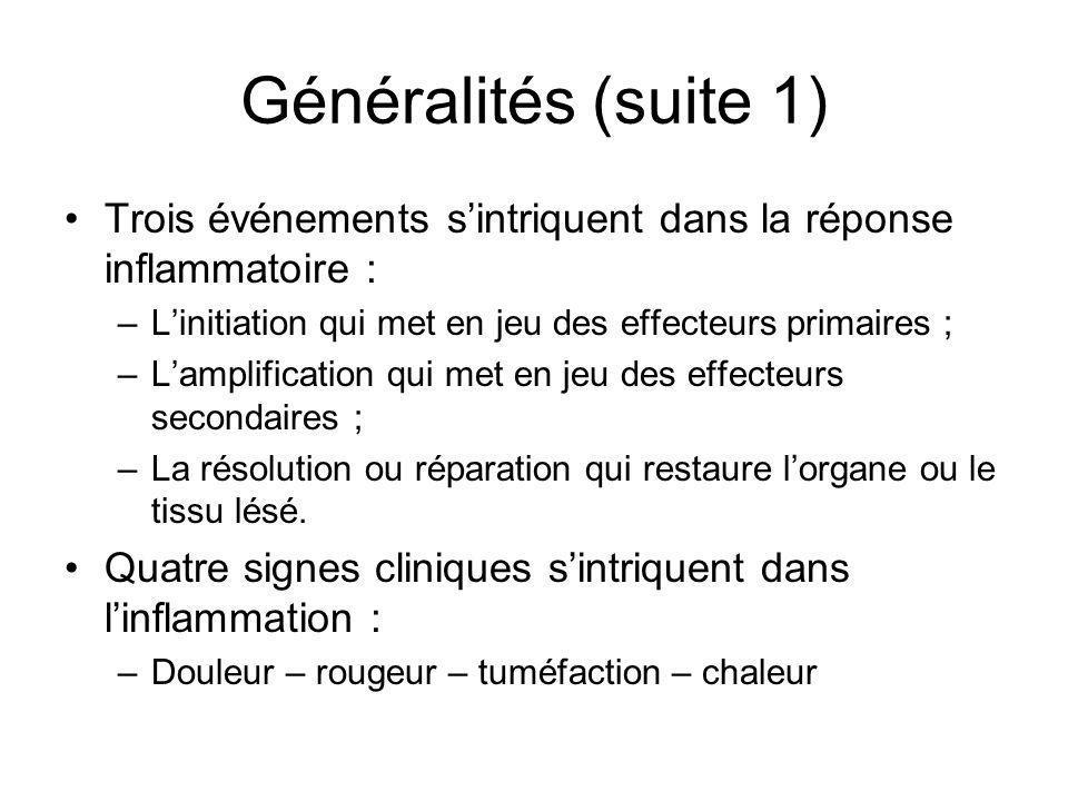 Généralités (suite 1) Trois événements sintriquent dans la réponse inflammatoire : –Linitiation qui met en jeu des effecteurs primaires ; –Lamplificat