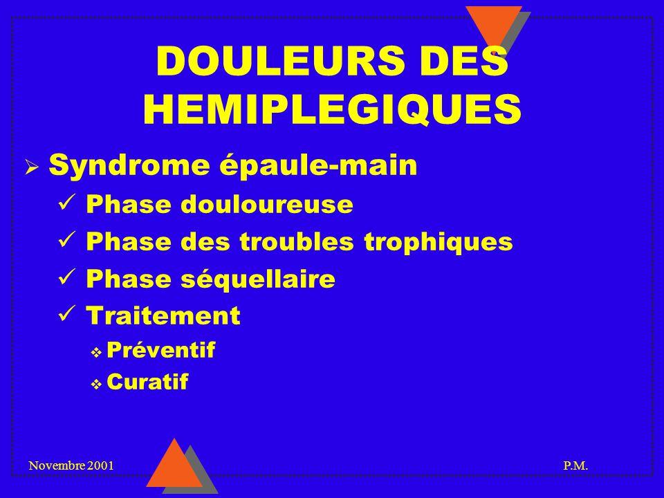 Novembre 2001 P.M. DOULEURS DES HEMIPLEGIQUES Syndrome épaule-main Phase douloureuse Phase des troubles trophiques Phase séquellaire Traitement Préven