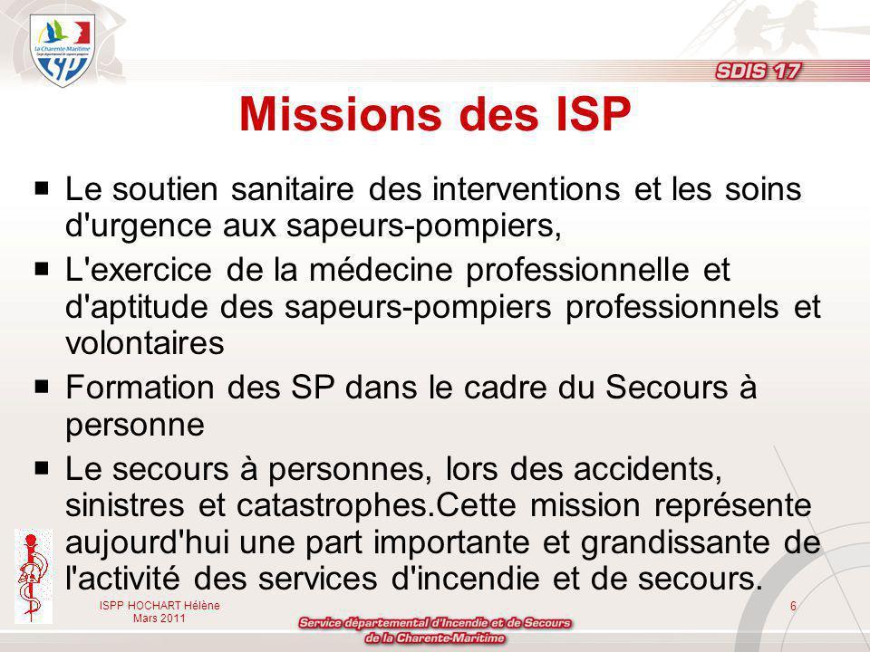 ISPP HOCHART Hélène Mars 2011 6 Missions des ISP Le soutien sanitaire des interventions et les soins d'urgence aux sapeurs-pompiers, L'exercice de la