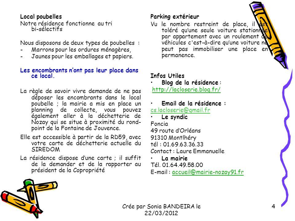 Crée par Sonia BANDEIRA le 22/03/2012 5 Conclusion Bien vivre avec ses voisins cest aussi respecter la personne et lenvironnement de chacun.