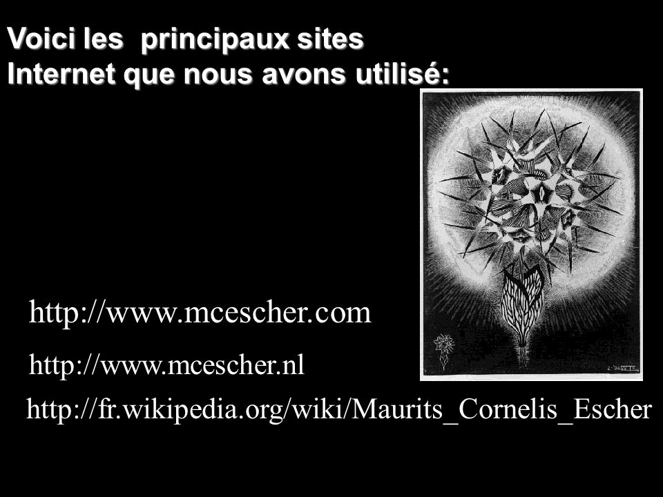 http://www.mcescher.com / Voici les principaux sites Internet que nous avons utilisé: http://www.mcescher.nl / http://fr.wikipedia.org/wiki/Maurits_Co