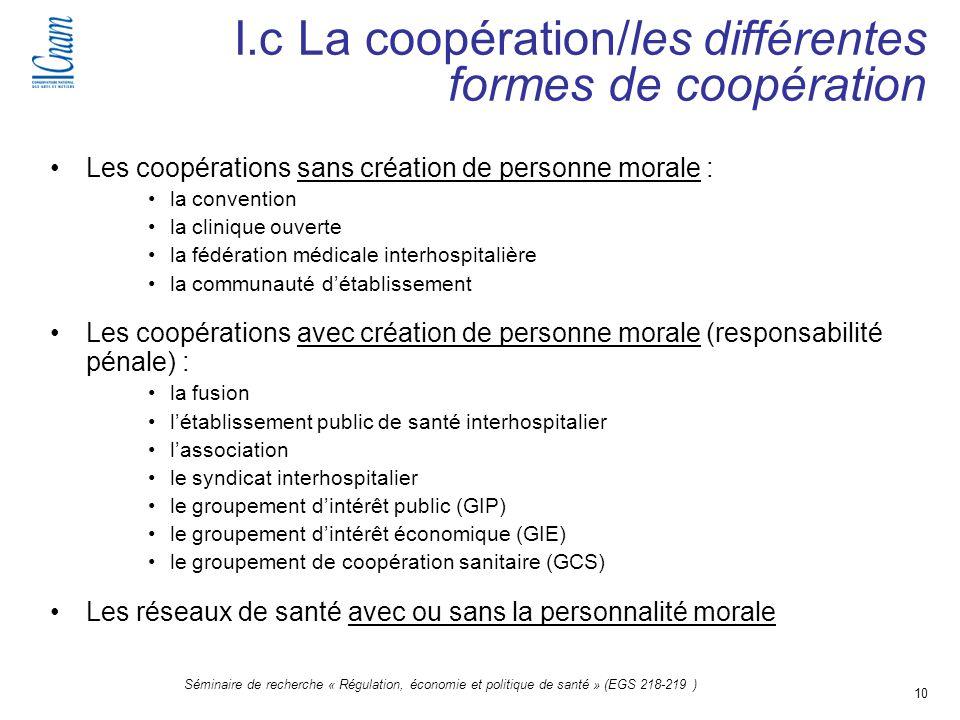10 Séminaire de recherche « Régulation, économie et politique de santé » (EGS 218-219 ) Les coopérations sans création de personne morale : la convent