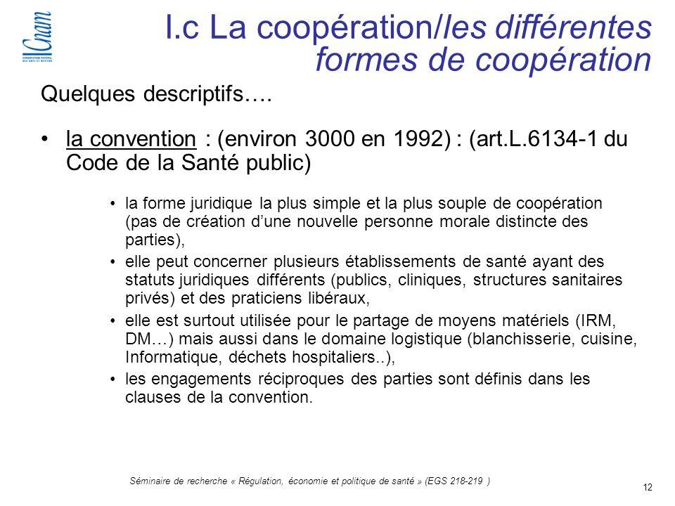 12 Séminaire de recherche « Régulation, économie et politique de santé » (EGS 218-219 ) Quelques descriptifs…. la convention : (environ 3000 en 1992)