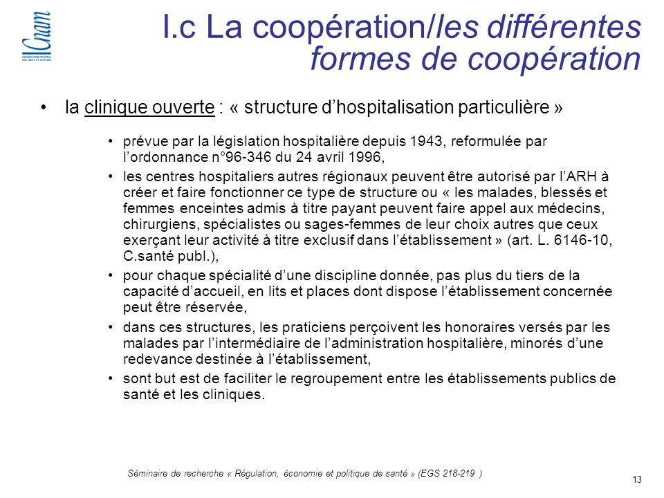 13 Séminaire de recherche « Régulation, économie et politique de santé » (EGS 218-219 ) la clinique ouverte : « structure dhospitalisation particulièr