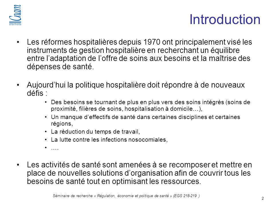 2 Séminaire de recherche « Régulation, économie et politique de santé » (EGS 218-219 ) Introduction Les réformes hospitalières depuis 1970 ont princip