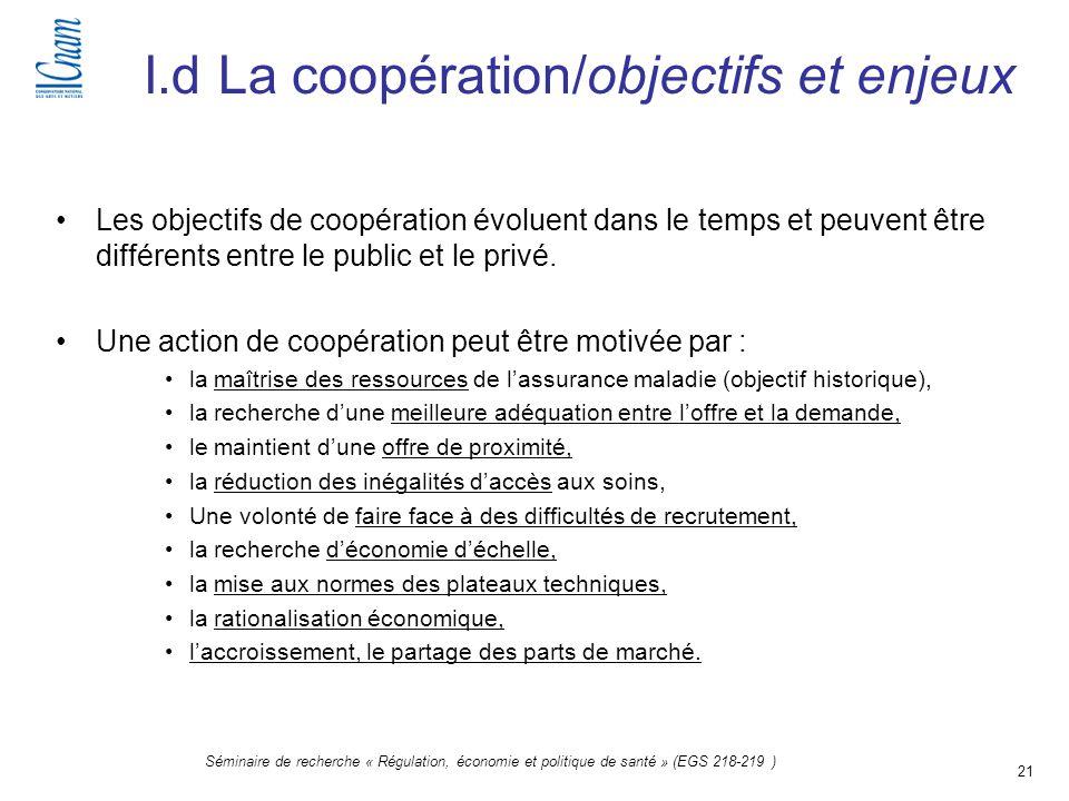 21 Séminaire de recherche « Régulation, économie et politique de santé » (EGS 218-219 ) I.d La coopération/objectifs et enjeux Les objectifs de coopér