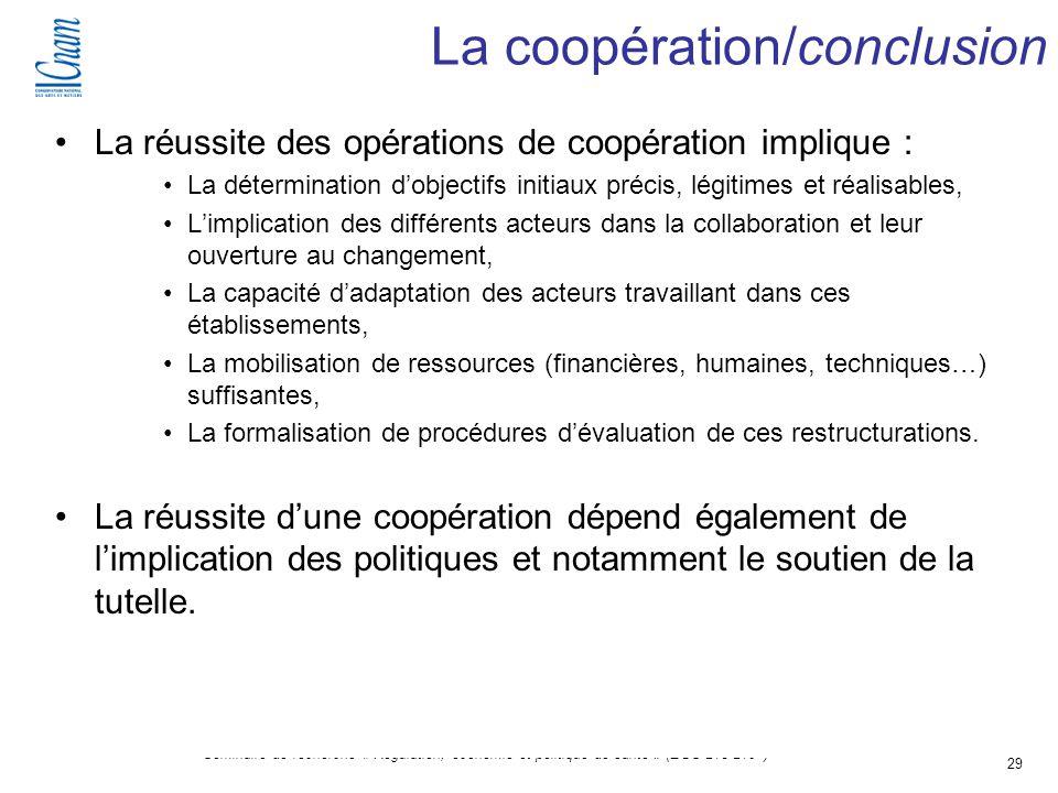 29 Séminaire de recherche « Régulation, économie et politique de santé » (EGS 218-219 ) La réussite des opérations de coopération implique : La déterm