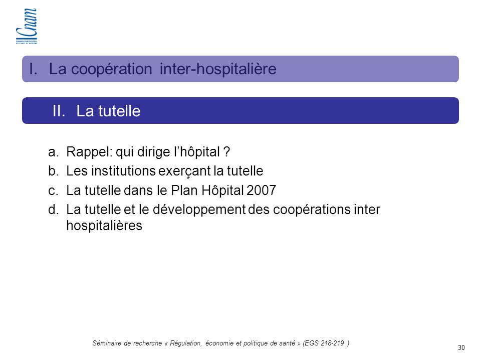 30 Séminaire de recherche « Régulation, économie et politique de santé » (EGS 218-219 ) II.La tutelle I.La coopération inter-hospitalière a.Rappel: qu