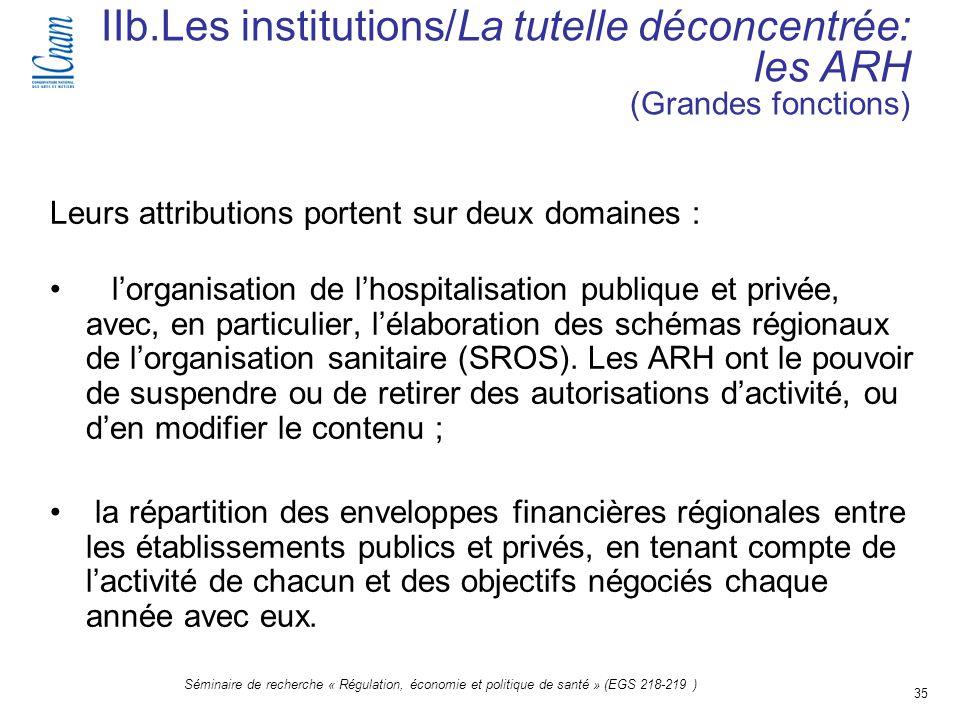 35 Séminaire de recherche « Régulation, économie et politique de santé » (EGS 218-219 ) IIb.Les institutions/La tutelle déconcentrée: les ARH (Grandes