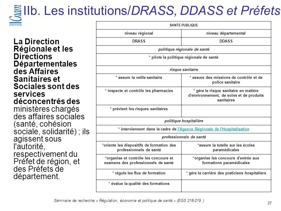 37 Séminaire de recherche « Régulation, économie et politique de santé » (EGS 218-219 ) IIb. Les institutions/DRASS, DDASS et Préfets La Direction Rég