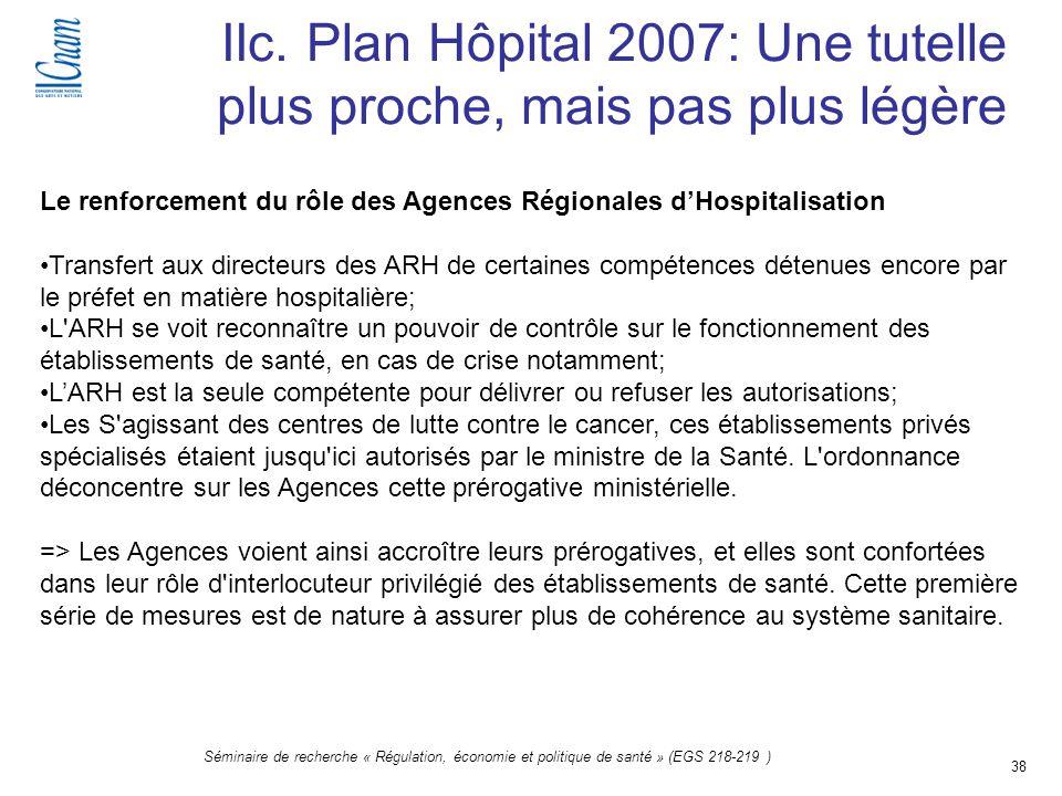 38 Séminaire de recherche « Régulation, économie et politique de santé » (EGS 218-219 ) IIc. Plan Hôpital 2007: Une tutelle plus proche, mais pas plus
