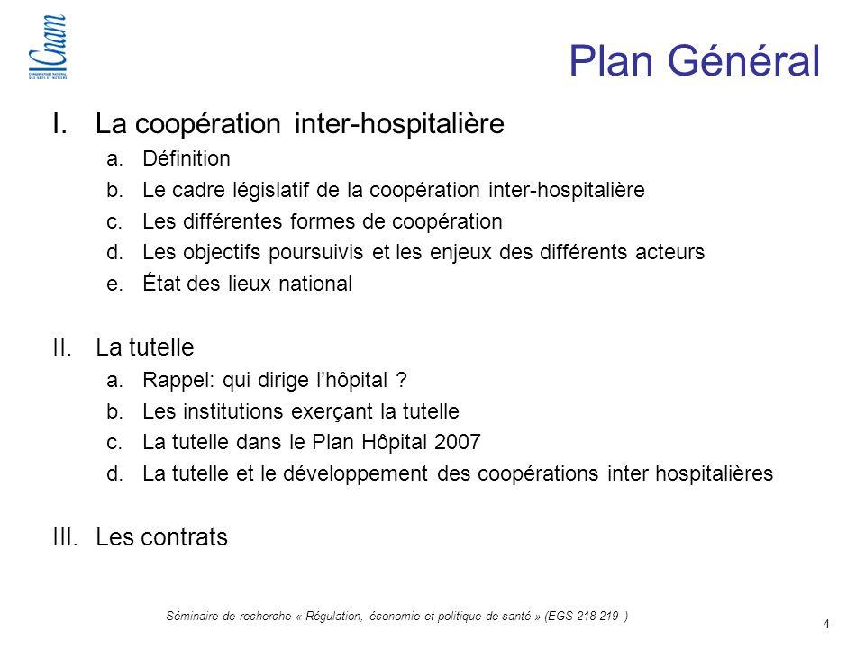 4 Séminaire de recherche « Régulation, économie et politique de santé » (EGS 218-219 ) I.La coopération inter-hospitalière a.Définition b.Le cadre lég