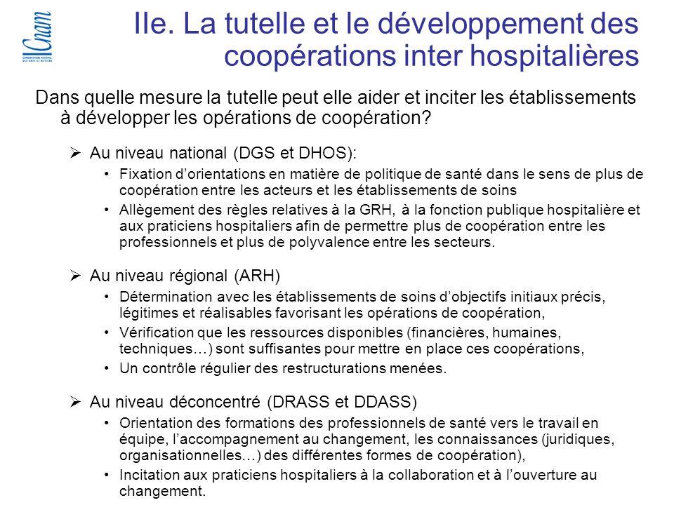 40 Séminaire de recherche « Régulation, économie et politique de santé » (EGS 218-219 ) IIe. La tutelle et le développement des coopérations inter hos