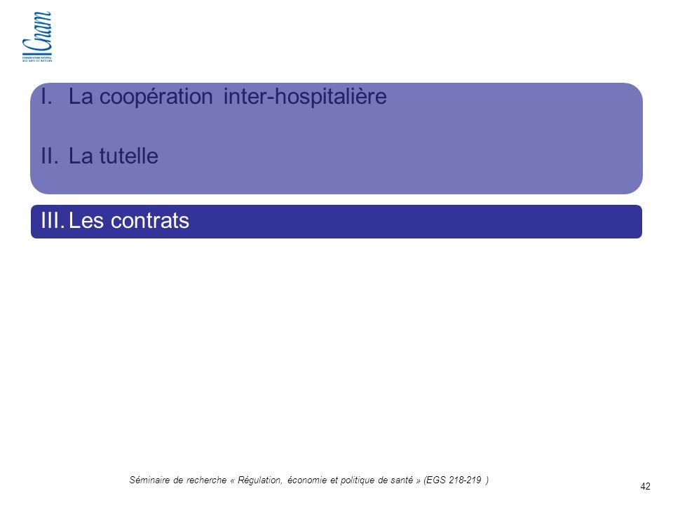 42 Séminaire de recherche « Régulation, économie et politique de santé » (EGS 218-219 ) I.La coopération inter-hospitalière II.La tutelle III.Les cont