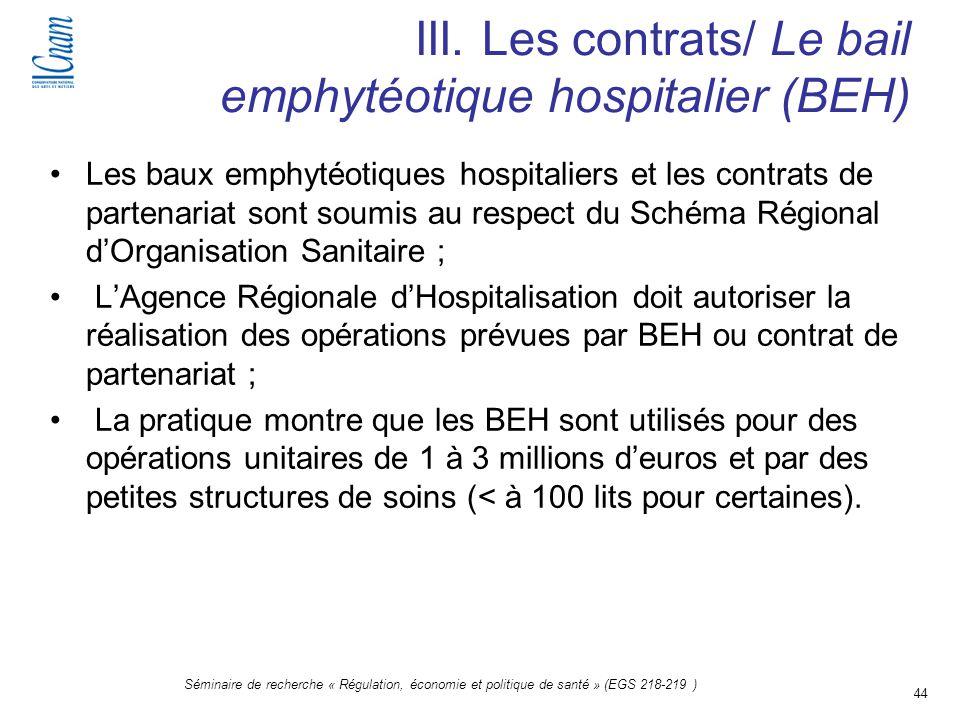 44 Séminaire de recherche « Régulation, économie et politique de santé » (EGS 218-219 ) III. Les contrats/ Le bail emphytéotique hospitalier (BEH) Les