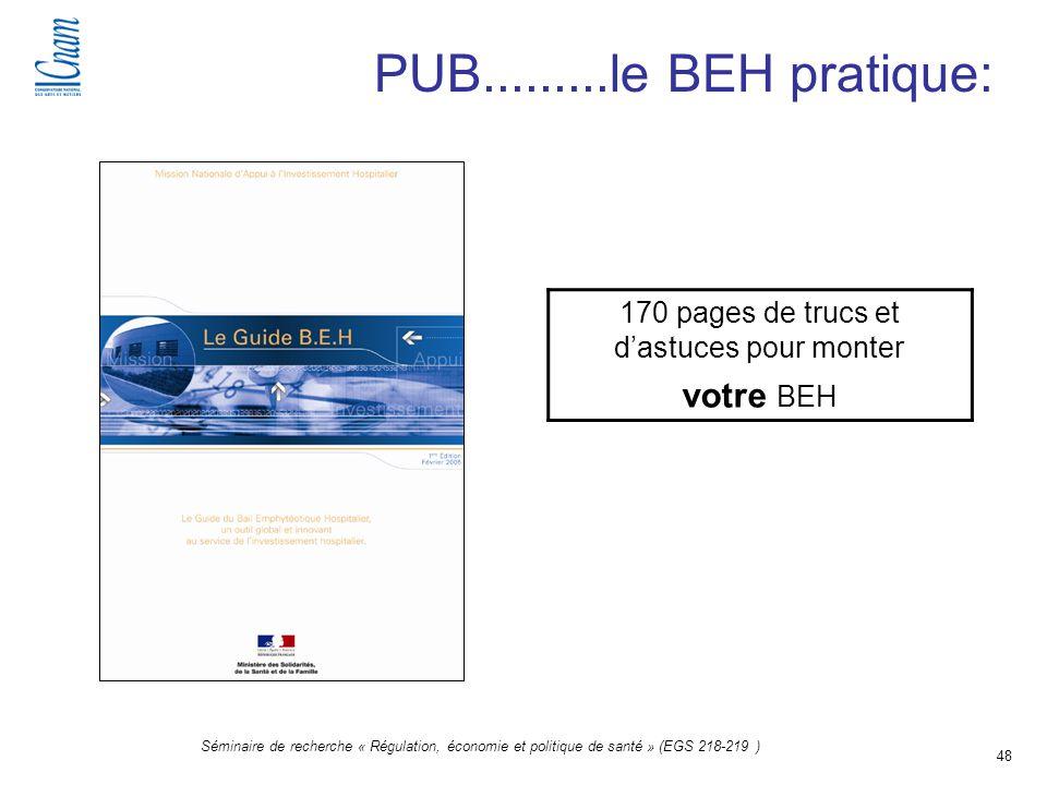 48 Séminaire de recherche « Régulation, économie et politique de santé » (EGS 218-219 ) PUB.........le BEH pratique: 170 pages de trucs et dastuces po