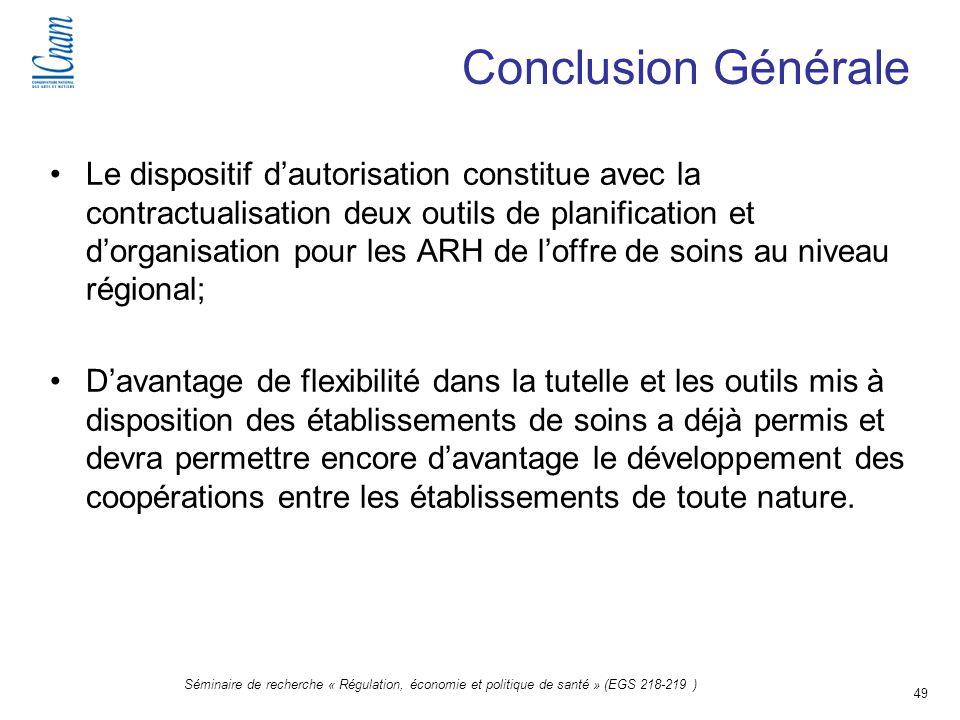 49 Séminaire de recherche « Régulation, économie et politique de santé » (EGS 218-219 ) Conclusion Générale Le dispositif dautorisation constitue avec