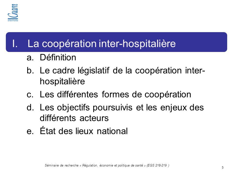 5 Séminaire de recherche « Régulation, économie et politique de santé » (EGS 218-219 ) I.La coopération inter-hospitalière a.Définition b.Le cadre lég