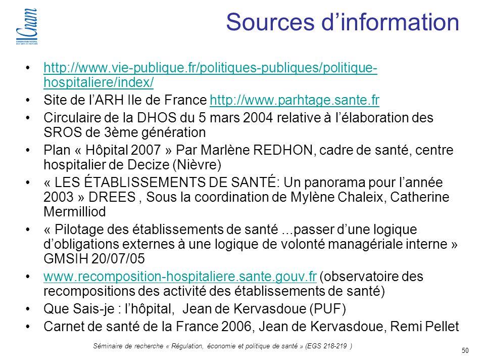 50 Séminaire de recherche « Régulation, économie et politique de santé » (EGS 218-219 ) Sources dinformation http://www.vie-publique.fr/politiques-pub