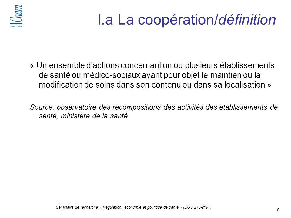 6 Séminaire de recherche « Régulation, économie et politique de santé » (EGS 218-219 ) I.a La coopération/définition « Un ensemble dactions concernant
