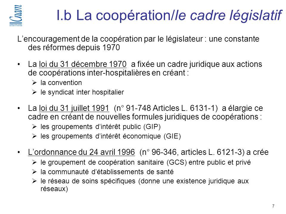 7 Séminaire de recherche « Régulation, économie et politique de santé » (EGS 218-219 ) I.b La coopération/le cadre législatif Lencouragement de la coo
