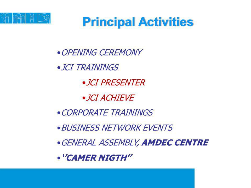 Principal ActivitiesPrincipal Activities OPENING CEREMONY JCI TRAININGS JCI PRESENTER JCI ACHIEVE CORPORATE TRAININGS BUSINESS NETWORK EVENTS GENERAL
