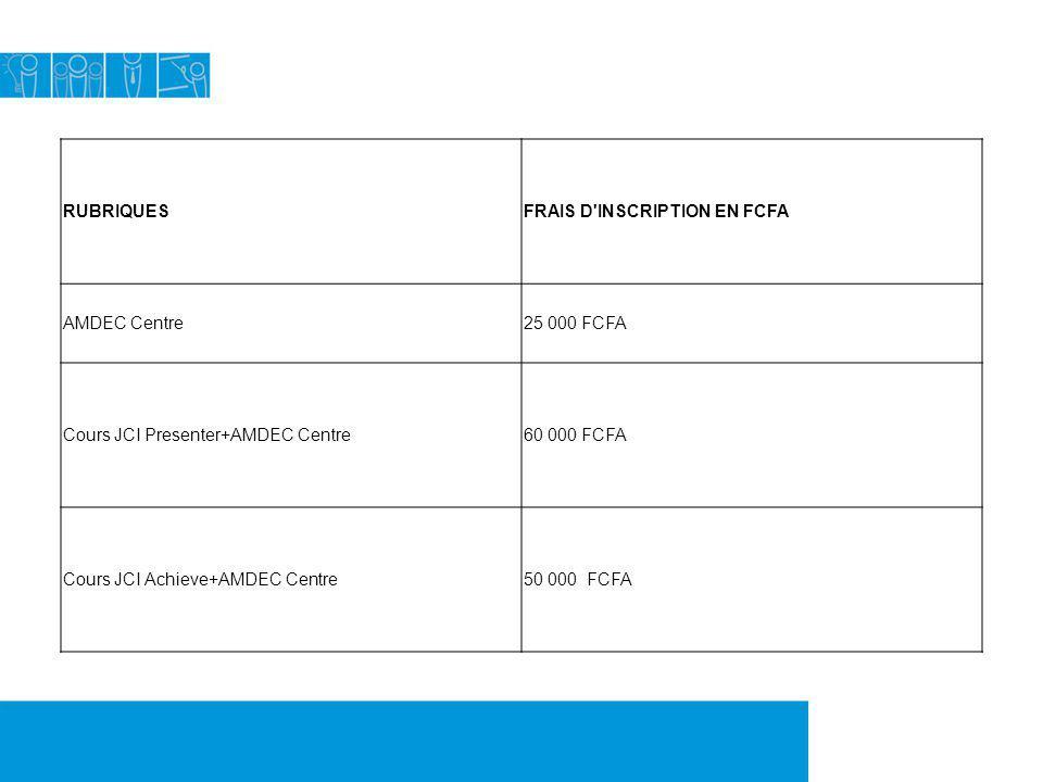 RUBRIQUESFRAIS D'INSCRIPTION EN FCFA AMDEC Centre25 000 FCFA Cours JCI Presenter+AMDEC Centre60 000 FCFA Cours JCI Achieve+AMDEC Centre50 000 FCFA