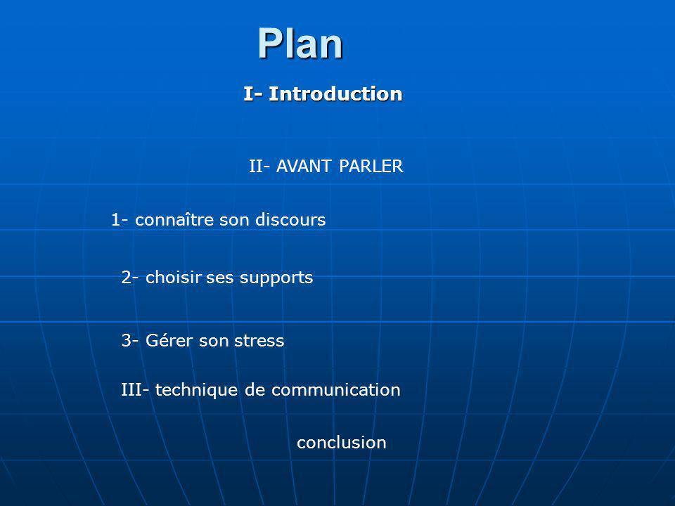 Plan I- Introduction II- AVANT PARLER 1- connaître son discours 2- choisir ses supports 3- Gérer son stress III- technique de communication conclusion