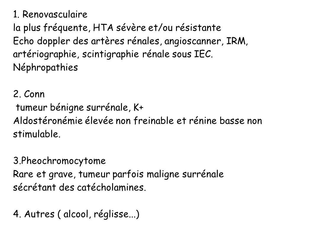 1. Renovasculaire la plus fréquente, HTA sévère et/ou résistante Echo doppler des artères rénales, angioscanner, IRM, artériographie, scintigraphie ré