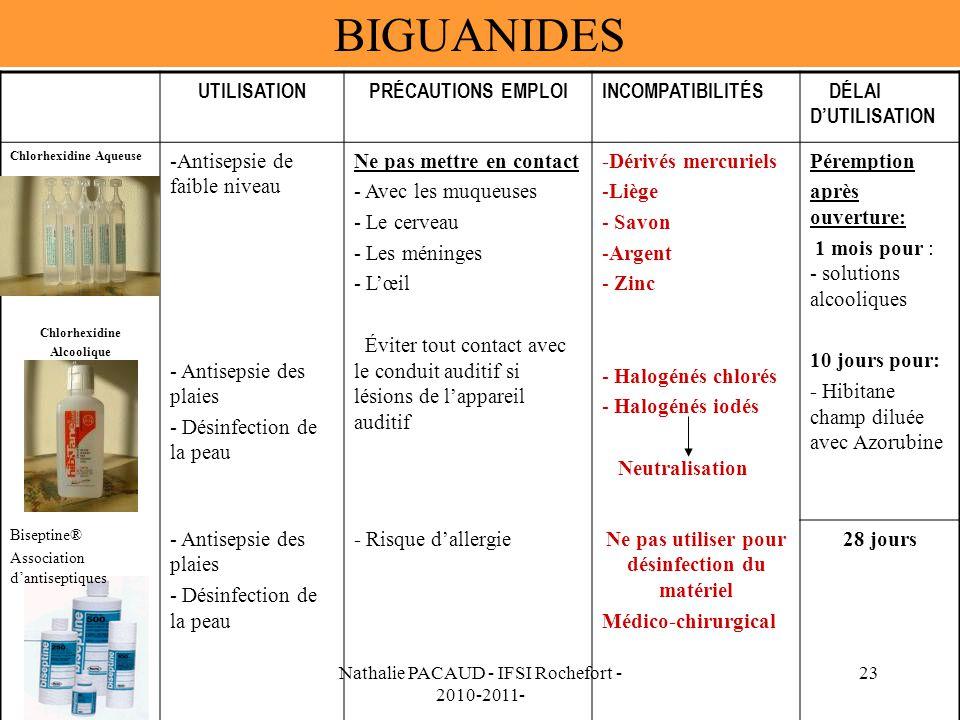 Nathalie PACAUD - IFSI Rochefort - 2010-2011- 23 BIGUANIDES UTILISATIONPRÉCAUTIONS EMPLOIINCOMPATIBILITÉS DÉLAI DUTILISATION Chlorhexidine Aqueuse Chlorhexidine Alcoolique -Antisepsie de faible niveau - Antisepsie des plaies - Désinfection de la peau Ne pas mettre en contact - Avec les muqueuses - Le cerveau - Les méninges - Lœil Éviter tout contact avec le conduit auditif si lésions de lappareil auditif -Dérivés mercuriels -Liège - Savon -Argent - Zinc - Halogénés chlorés - Halogénés iodés Neutralisation Péremption après ouverture: 1 mois pour : - solutions alcooliques 10 jours pour: - Hibitane champ diluée avec Azorubine Biseptine® Association dantiseptiques - Antisepsie des plaies - Désinfection de la peau - Risque dallergieNe pas utiliser pour désinfection du matériel Médico-chirurgical 28 jours