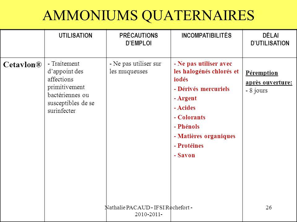 Nathalie PACAUD - IFSI Rochefort - 2010-2011- 26 AMMONIUMS QUATERNAIRES UTILISATIONPRÉCAUTIONS DEMPLOI INCOMPATIBILITÉS DÉLAI DUTILISATION Cetavlon® - Traitement dappoint des affections primitivement bactériennes ou susceptibles de se surinfecter - Ne pas utiliser sur les muqueuses - Ne pas utiliser avec les halogénés chlorés et iodés - Dérivés mercuriels - Argent - Acides - Colorants - Phénols - Matières organiques - Protéines - Savon Péremption après ouverture: - 8 jours