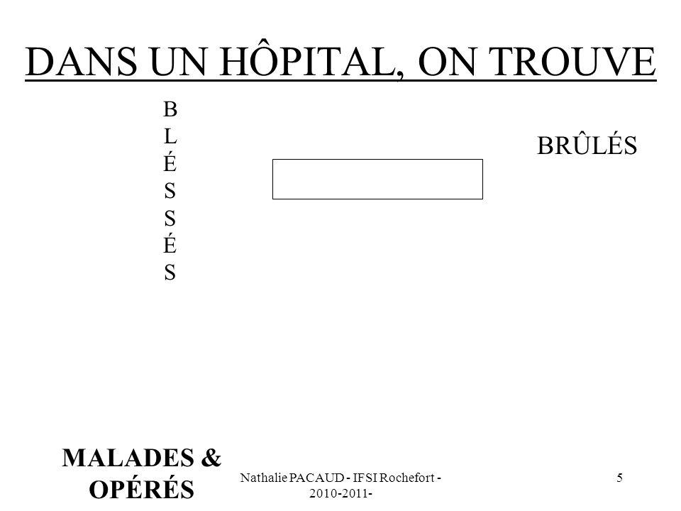 Nathalie PACAUD - IFSI Rochefort - 2010-2011- 5 DANS UN HÔPITAL, ON TROUVE BLÉSSÉSBLÉSSÉS PATIENTS MALADES & OPÉRÉS BRÛLÉS