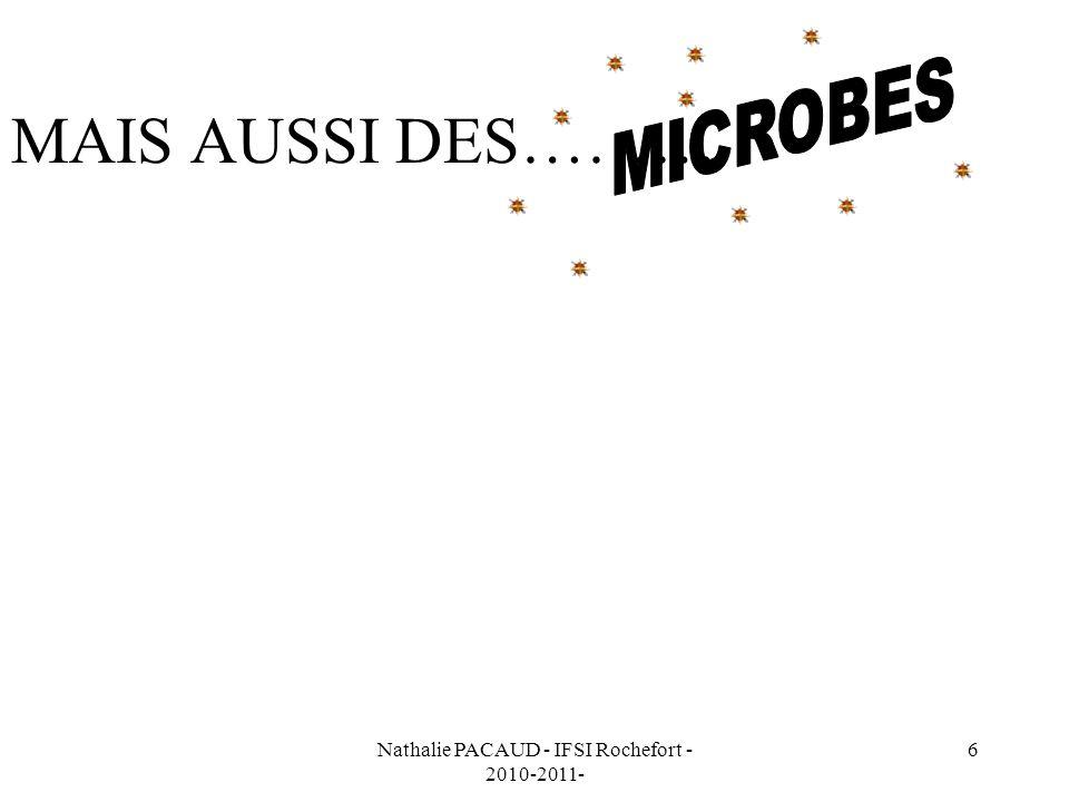 Nathalie PACAUD - IFSI Rochefort - 2010-2011- 37 À RETENIR Les antiseptiques ne sont pas stérilisants.
