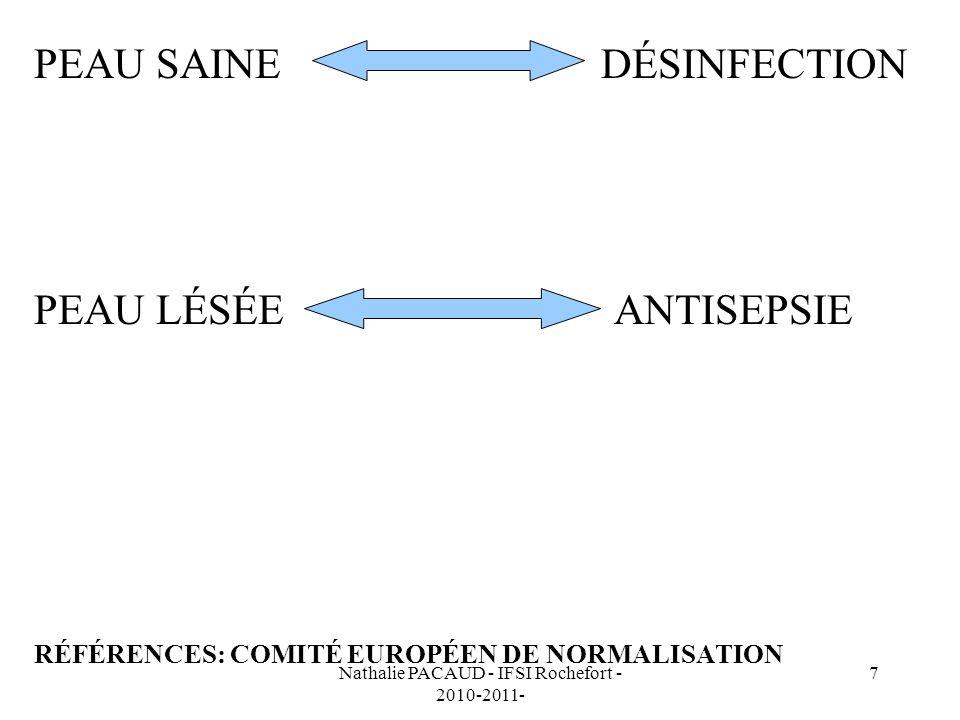 Nathalie PACAUD - IFSI Rochefort - 2010-2011- 7 PEAU SAINE DÉSINFECTION PEAU LÉSÉE ANTISEPSIE RÉFÉRENCES: COMITÉ EUROPÉEN DE NORMALISATION
