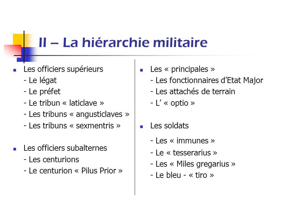 II – La hiérarchie militaire Les officiers supérieurs - Le légat - Le préfet - Le tribun « laticlave » - Les tribuns « angusticlaves » - Les tribuns «