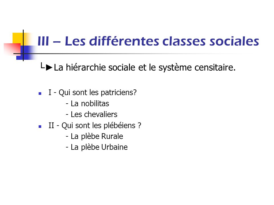 III – Les différentes classes sociales La hiérarchie sociale et le système censitaire. I - Qui sont les patriciens? - La nobilitas - Les chevaliers II