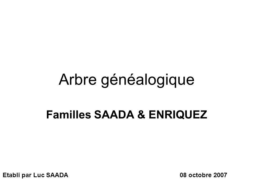 Arbre généalogique Familles SAADA & ENRIQUEZ Etabli par Luc SAADA08 octobre 2007