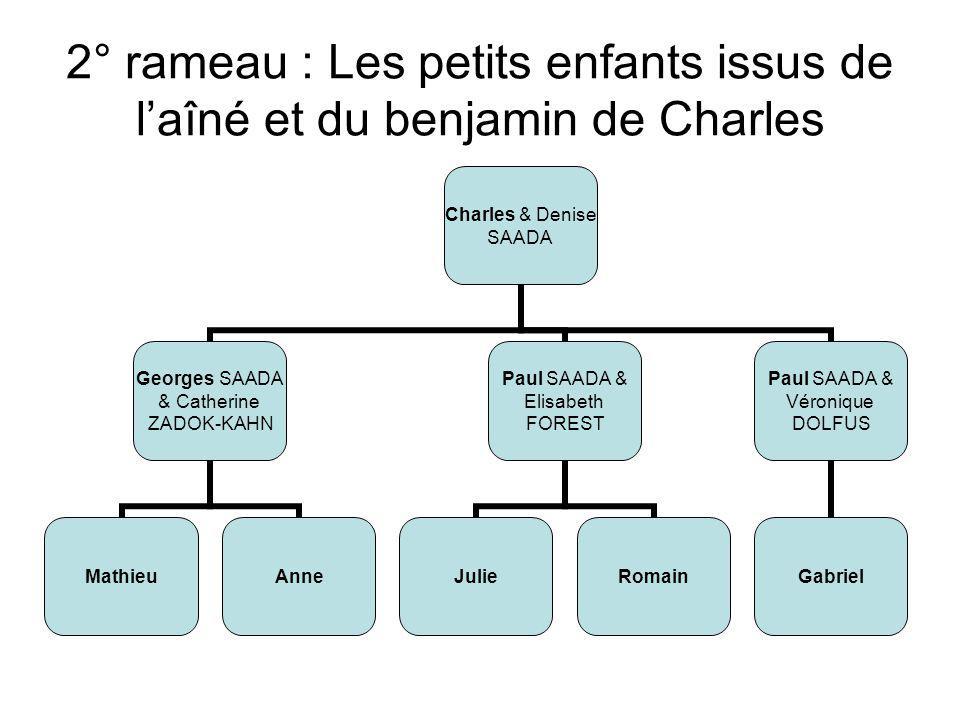 2° rameau : Les petits enfants issus des deux jumelles de Charles Charles & Denise SAADA Jacqueline & Albert LAHANA RogerAlainMartineMichèle Jeanne & Jean- Marc FAVRET Rémi (DCD) Catherine