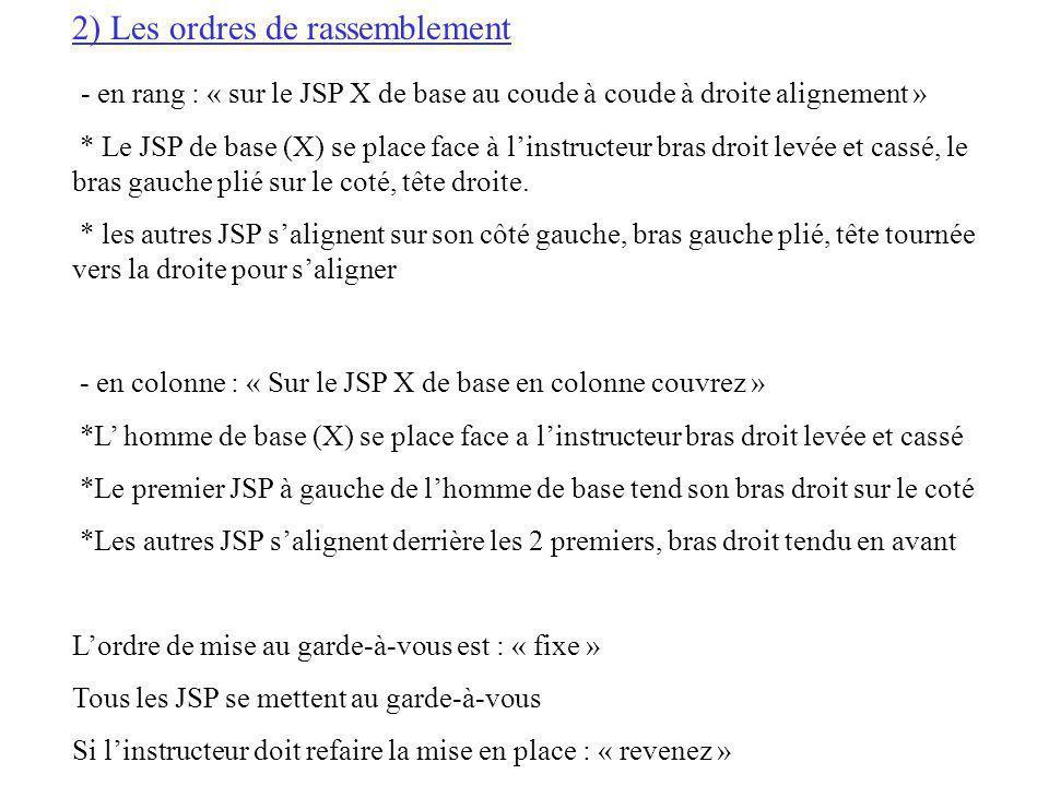 2) Les ordres de rassemblement - en rang : « sur le JSP X de base au coude à coude à droite alignement » * Le JSP de base (X) se place face à linstruc