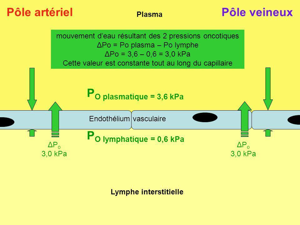 Plasma Lymphe interstitielle P O plasmatique = 3,6 kPa P O lymphatique = 0,6 kPa Pôle artériel mouvement deau résultant des 2 pressions oncotiques ΔPo = Po plasma – Po lymphe ΔPo = 3,6 – 0,6 = 3,0 kPa Cette valeur est constante tout au long du capillaire Pôle veineux Endothélium vasculaire ΔP o 3,0 kPa ΔP o 3,0 kPa