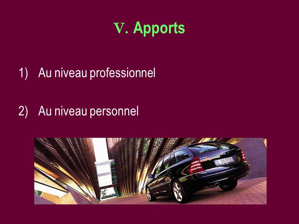 V. Apports 1)Au niveau professionnel 2)Au niveau personnel