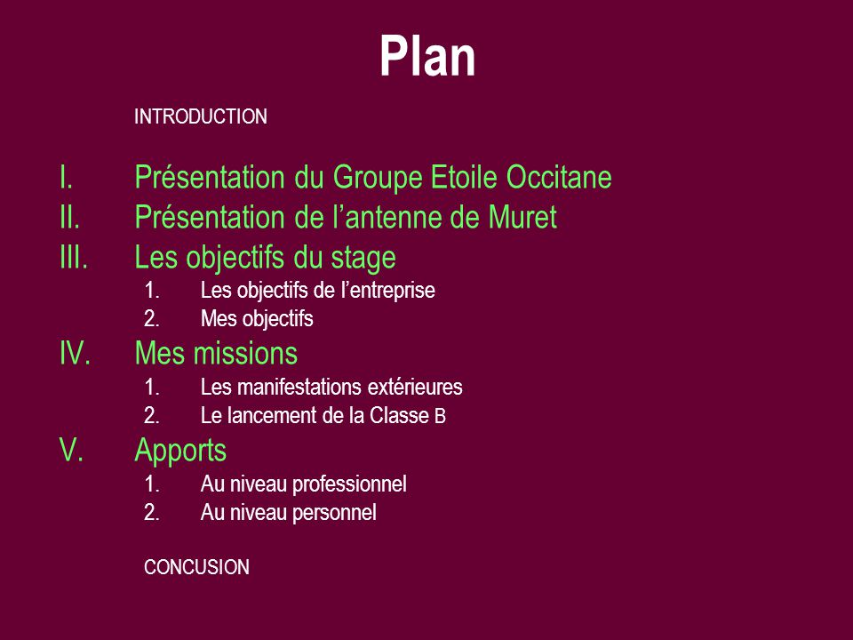 Plan INTRODUCTION I.Présentation du Groupe Etoile Occitane II.Présentation de lantenne de Muret III.Les objectifs du stage 1.Les objectifs de lentrepr