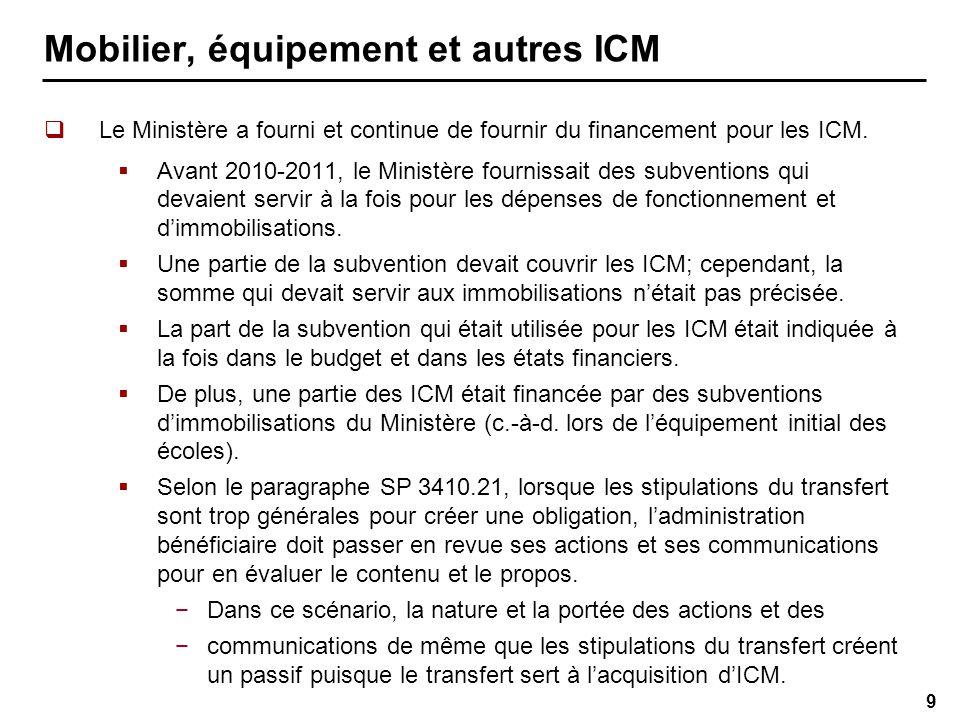 9 Le Ministère a fourni et continue de fournir du financement pour les ICM.