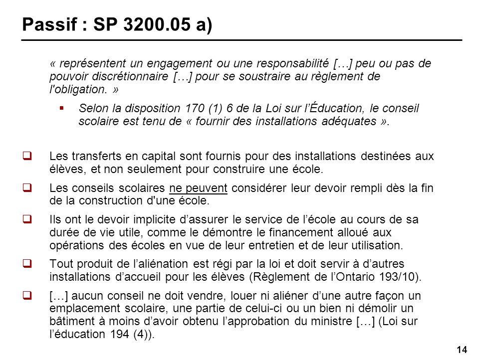 14 Passif : SP 3200.05 a) « représentent un engagement ou une responsabilité […] peu ou pas de pouvoir discrétionnaire […] pour se soustraire au règlement de l obligation.