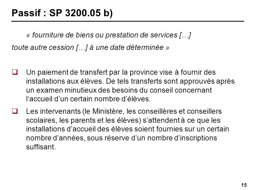 15 Passif : SP 3200.05 b) « fourniture de biens ou prestation de services […] toute autre cession […] à une date déterminée » Un paiement de transfert par la province vise à fournir des installations aux élèves.