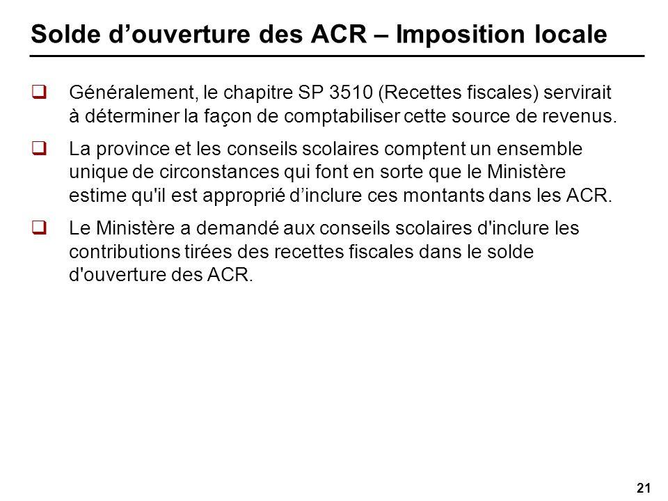 21 Solde douverture des ACR – Imposition locale Généralement, le chapitre SP 3510 (Recettes fiscales) servirait à déterminer la façon de comptabiliser cette source de revenus.