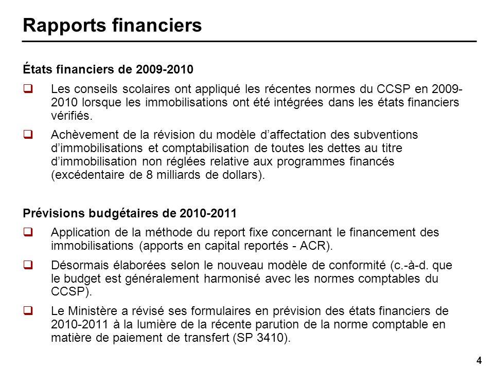 4 Rapports financiers États financiers de 2009-2010 Les conseils scolaires ont appliqué les récentes normes du CCSP en 2009- 2010 lorsque les immobilisations ont été intégrées dans les états financiers vérifiés.