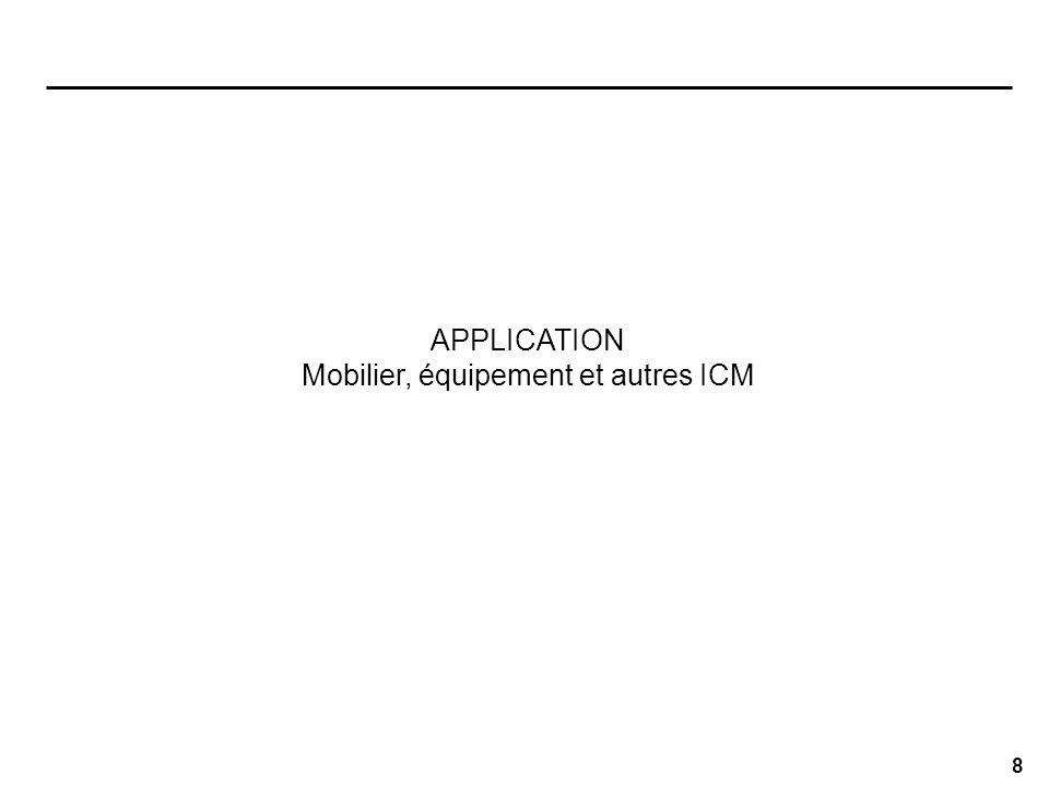 8 APPLICATION Mobilier, équipement et autres ICM
